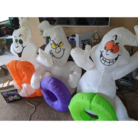 Gemmy ghost boo Halloween inflatable light up lawn